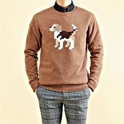 THE COVER - Crew-Neck Wool Blend Dog Knit Top