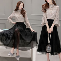 Lavogo - Set: Lace Stand Collar Bell-Sleeve Top + Mesh Midi Skirt