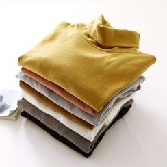 Bonbon - Plain Turtleneck Long Sleeve T-Shirt