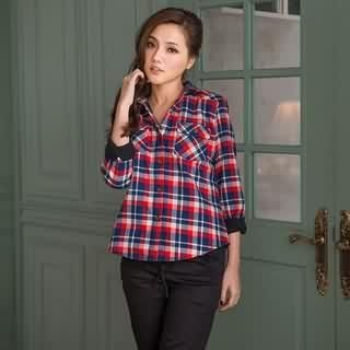RingBear - Dual-Pocket Plaid Blouse