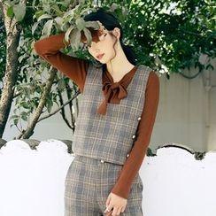 Dimosqisi - Set: Woolen Check V-Neck Vest+High-Waist Cropped Wide-Leg Pants