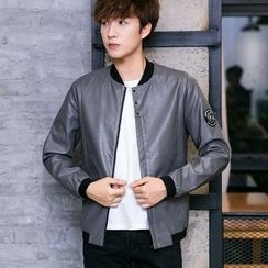Besto - Faux Leather Bomber Jacket