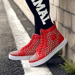 Preppy Boys - High-Top Studded Sneakers