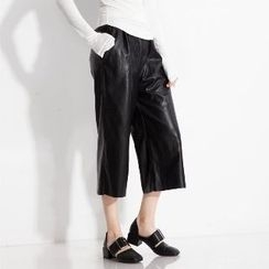 Halona - Faux-Leather Cropped Pants