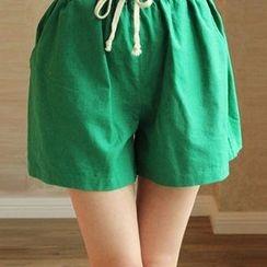 Heybabe - Plain Wide-leg Shorts