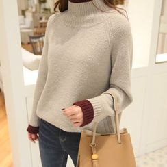 CLICK - High-Neck Raglan-Sleeve Sweater