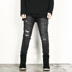 Remember Click - Seam-Trim Distressed Skinny Pants