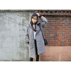 Envy Look - Funnel-Neck Zip Long Padded Coat
