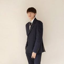 Seoul Homme - Single-Breasted Pinstriped Blazer