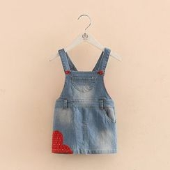 Seashells Kids - Kids Heart Applique Denim Pinafore Dress