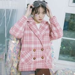 DK Yannie - Double-Breasted Plaid Coat