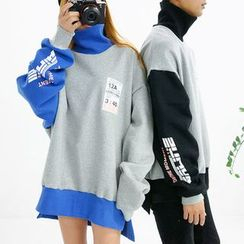 Seoul Homme - Couple High-Neck Printed Pullover