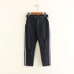 Mushi - Ripped Contrast Trim Pants