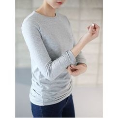 STYLEBYYAM - Round-Neck Brushed Fleece T-Shirt