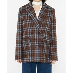 Someday, if - Notched-Lapel Double-Breasted Plaid Jacket
