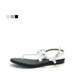 MODELSIS - Genuine Sheepskin Ribbon-Detail T-Strap Sandals