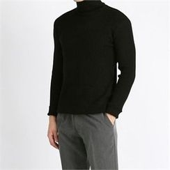 THE COVER - Turtle-Neck Ribbed Wool Blend Sweater