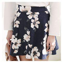 Sechuna - Floral Pattern Mini A-Line Skirt