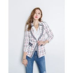 GUMZZI - Hook-and-Eye Fringed Plaid Blazer