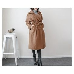 demavie - Double-Breasted Trench Coat with Sash