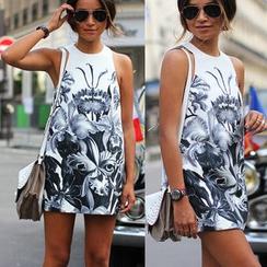 HOTCAKE - Sleeveless Printed A-Line Dress