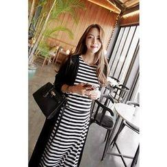 Momnuri - Maternity Inset Cardigan Stripe Nursing Dress