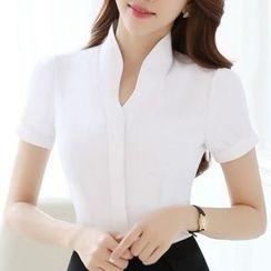 Eferu - Plain Short Sleeve Split Neck Shirt