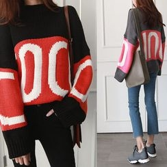 NIPONJJUYA - Drop-Shoulder Lettering Sweater