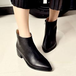 JY Shoes - Genuine Leather Pointy Block Heel Ankle Boots
