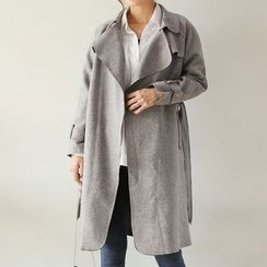 Seoul Fashion - Faux-Suede Trench Coat with Sash