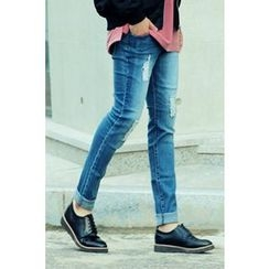 Ohkkage - Band-Waist Distressed Jeans