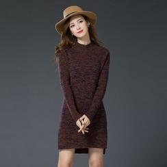 LANA - Long-Sleeve Melange Knit Dress