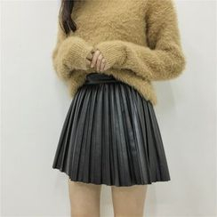 Whitney's Shop - Faux Leather A-line Pleated Skirt