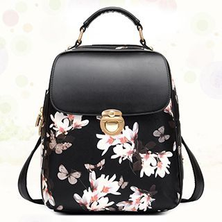 BeiBaoBao - Faux-Leather Floral Backpack