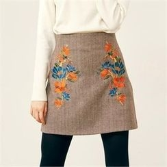 MAGJAY - Wool Blend Floral-Embroidered Herringbone Skirt