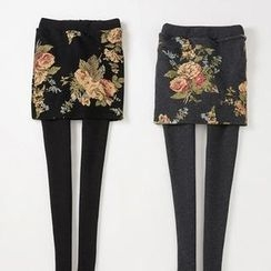 Ando Store - Inset Flower-Print Fleece-Lined Leggings