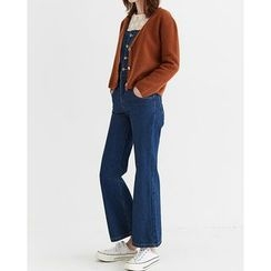 Someday, if - Buttoned Boot-Cut Denim Suspender Pants