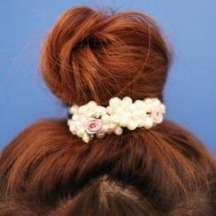 Jemai - Flower Faux Pearl Hair Tie