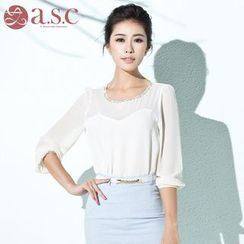Aision - Rhinestone-Accent Blouse
