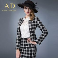Aision - Mesh Blouse / Houndstooth Blazer / Pencil Skirt