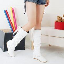Pretty in Boots - Hidden Wedge Rhinestone Tall Boots