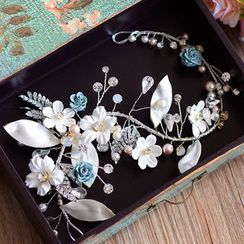 Ashmi - Bridal Flower Rhinestone Hair Band