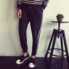Dubel - Drawstring Contrast-Stripe Cotton Pants