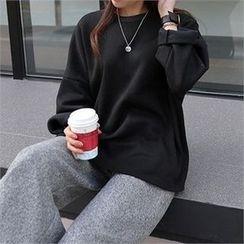 CHICFOX - Drop-Shoulder Brushed Fleece T-Shirt