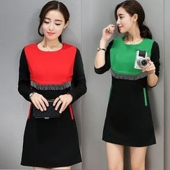 Ashlee - Color Block Long-Sleeve Shift Dress