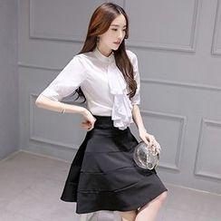 Romantica - Set: Ruffled Blouse + A-Line Skirt