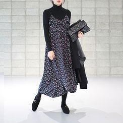 STYLEBYYAM - Patterned Sleeveless V-Neck A-Line Long Dress