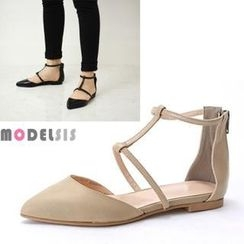 MODELSIS - Genuine Leather T-Strap Sandals