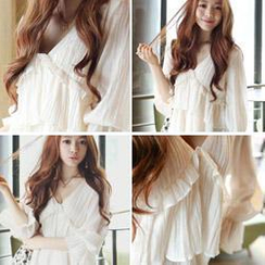 cherry spoon - Puff-Sleeve Frilled Top
