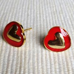 MyLittleThing - Resin Heart Earrings (Red)